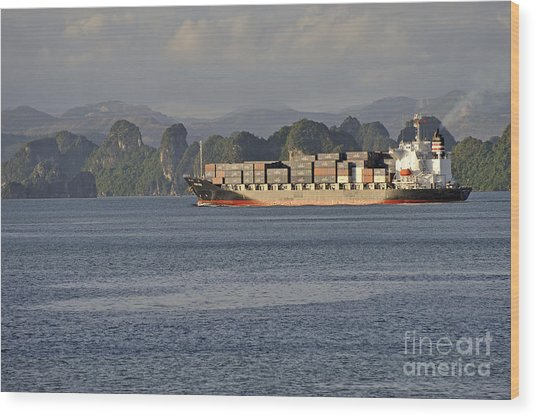 Container Ship In Halong Bay Wood Print by Sami Sarkis