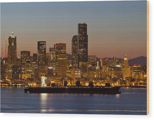Container Ship On Puget Sound Along Seattle Skyline Wood Print