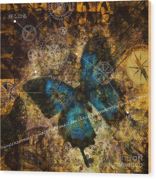 Contemplating The Butterfly Effect  Wood Print
