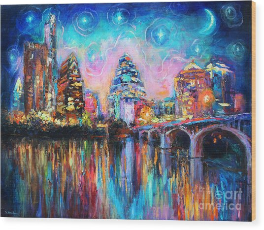 Contemporary Downtown Austin Art Painting Night Skyline Cityscape Painting Texas Wood Print