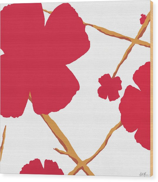 Contemporary Poppy Wood Print