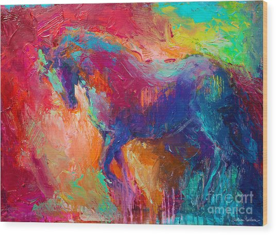 Contemporary Vibrant Horse Painting Wood Print