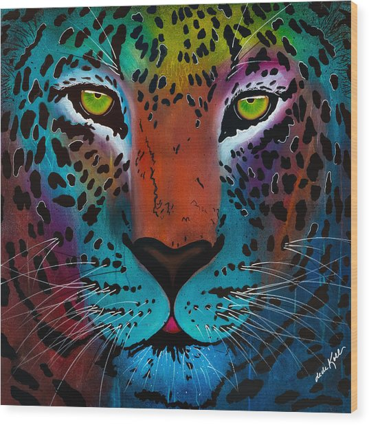 Wood Print featuring the painting Content Leopard by Dede Koll