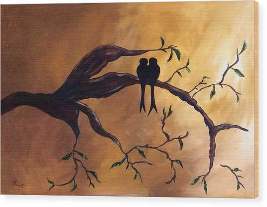 Wood Print featuring the painting Contentment by Patti Ferron