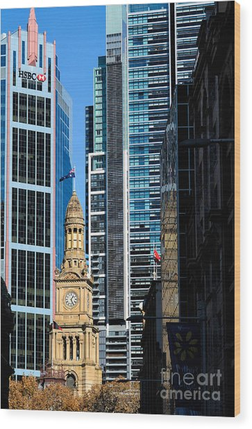Contrasting Architectures - Old And Modern Wood Print