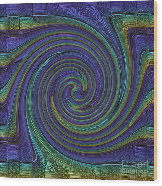 Converging Blue Wood Print