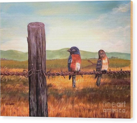 Conversation With A Fencepost Wood Print