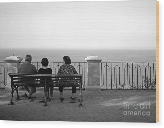 Conversations By The Sea Wood Print