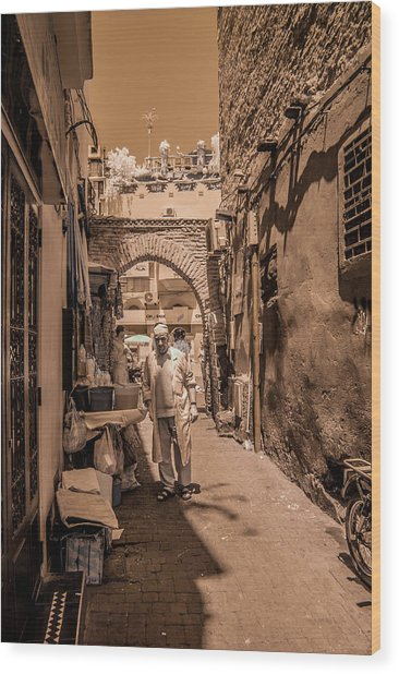 Cooking On The Streets Of Marrakech Wood Print