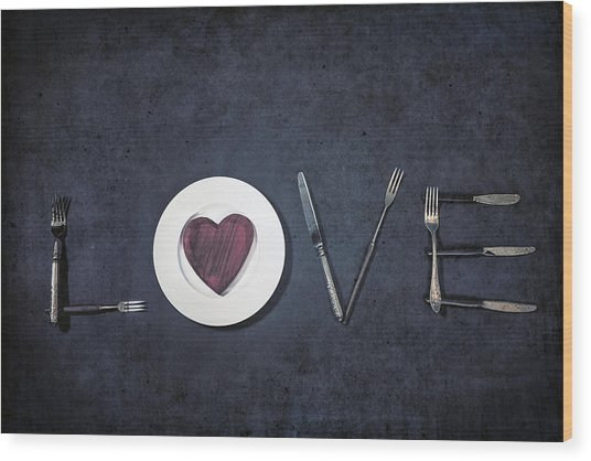 Cooking With Love Wood Print