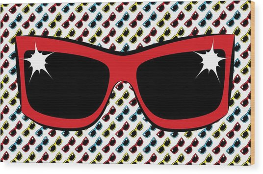 Cool 90's Sunglasses Red Wood Print