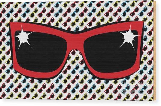 Cool 90's Sunglasses Red Wood Print