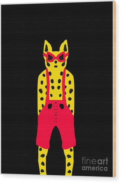 Cool For Cats In Red Dungarees Wood Print