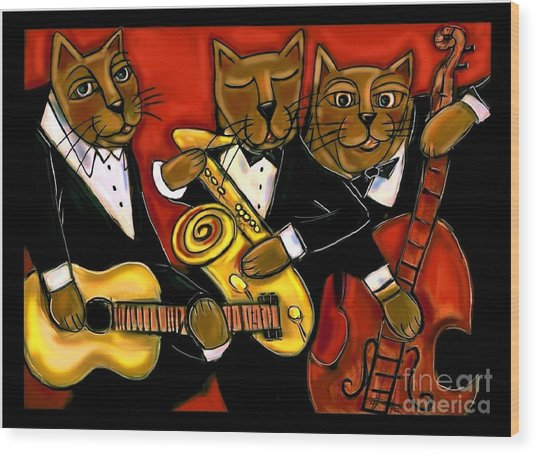 Cool Jazz Cats Wood Print