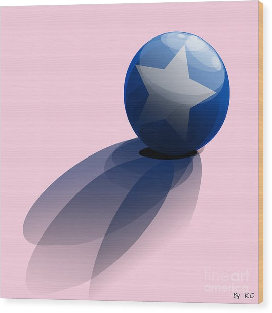 Blue Ball Decorated With Star Wood Print