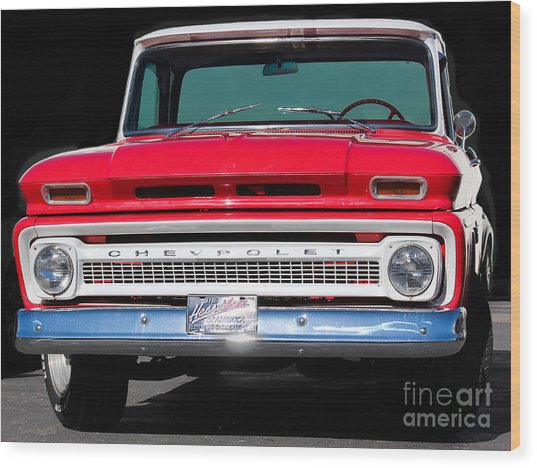 Cool Red Chevy Truck Wood Print