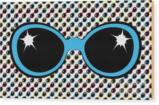 Cool Retro Blue Sunglasses Wood Print