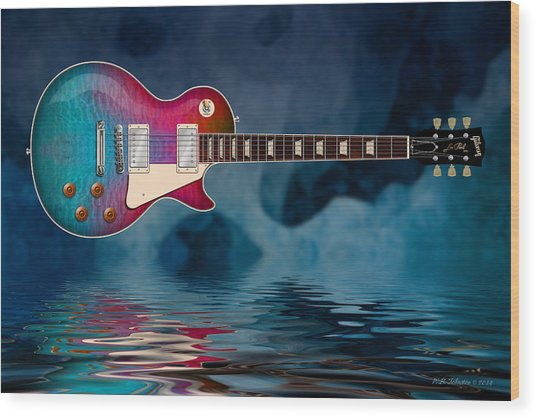 Cool Tiedye Les Paul Wood Print