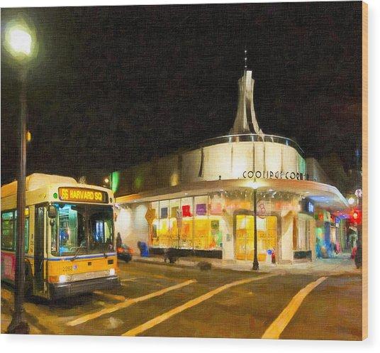 Coolidge Corner In Brookline At Night Wood Print