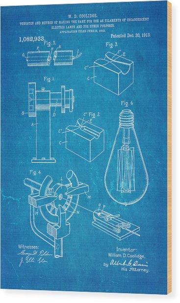 Coolidge Incandescent Lighting Patent Art 1913 Blueprint Wood Print