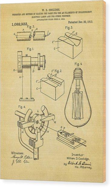 Coolidge Incandescent Lighting Patent Art 1913 Wood Print