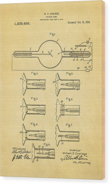 Coolidge X-ray Tube Patent Art 1913 Wood Print by Ian Monk