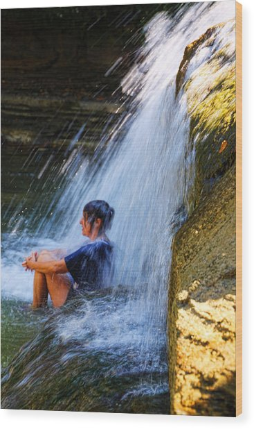 Cooling Off At Stony Brook State Park Wood Print