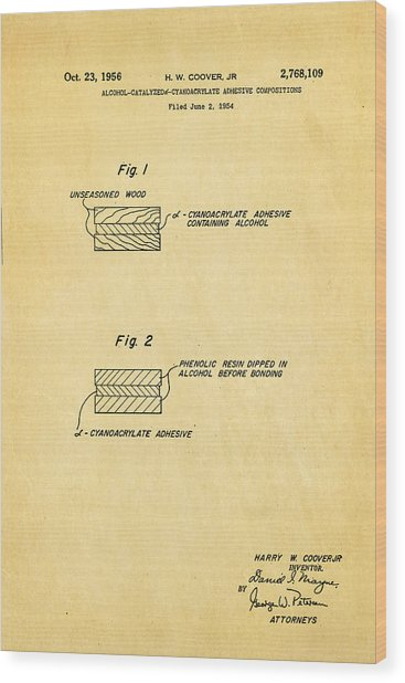 Coover Superglue Patent Art 1956 Wood Print