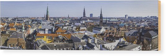 Copenhagen Spires And Rooftops Panorama Over Central Cityscape Denmark Wood Print by fotoVoyager