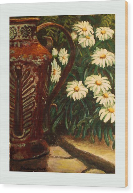 Copper And Daisies Wood Print