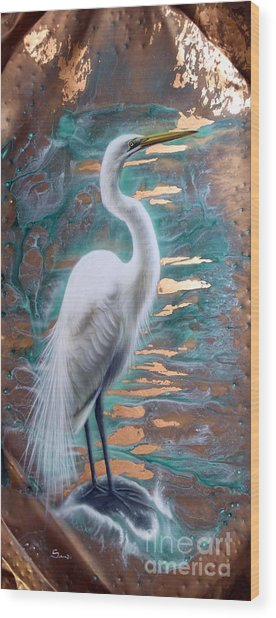 Copper Egret Wood Print