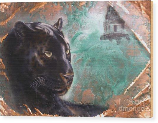 Copper Jaguar Wood Print