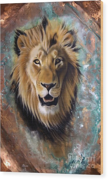 Copper Majesty - Lion Wood Print