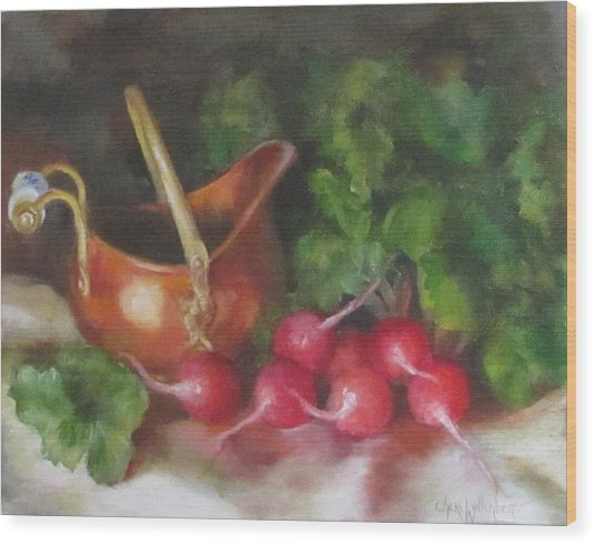 Copper Pot And Radishes Still Life Painting Wood Print
