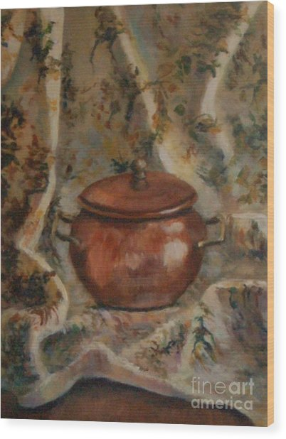 Copper Pot Wood Print by Jana Baker