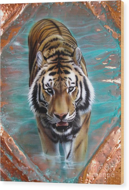 Copper Tiger 3 Wood Print