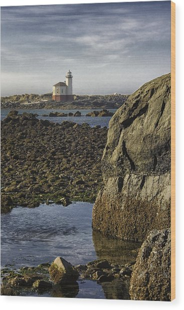 Coquille River Lighthouse Wood Print by Jeanne Hoadley