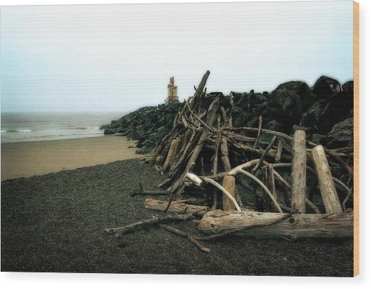 Coquille River South Jetty Wood Print