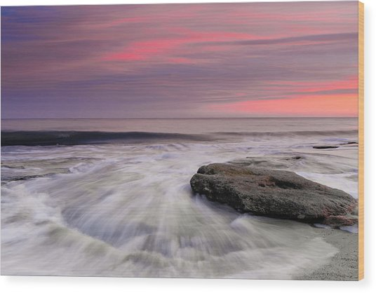 Coquina Rocks Washed By Ocean Waves At Colorful Sunset Wood Print