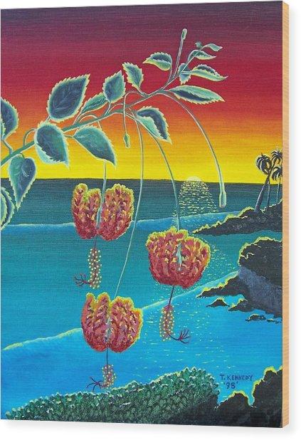 Coral Hibiscus Wood Print