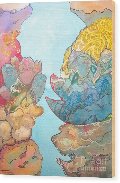 Coral Reef Small Wood Print by Maya Simonson