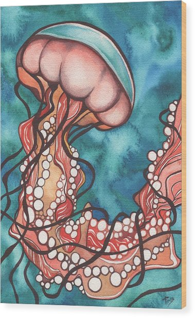 Coral Sea Nettle Jellyfish Wood Print