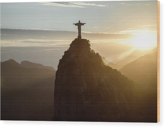 Corcovado At Sunset, Rio De Janeiro Wood Print by Christian Adams