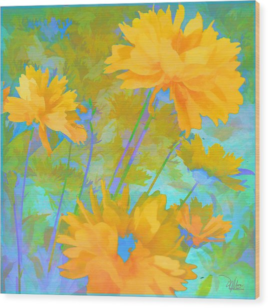 Coreopsis - Yellow And Green Wood Print