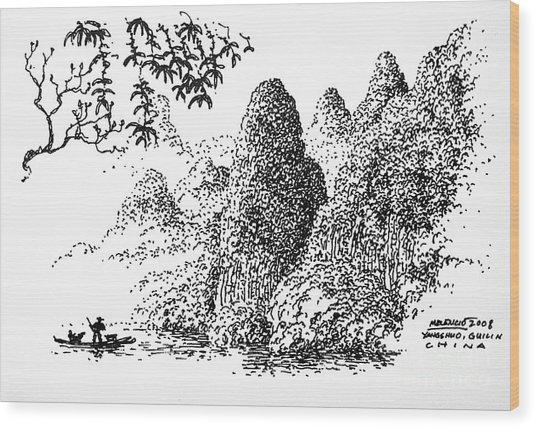 Cormoran Fishing Wood Print