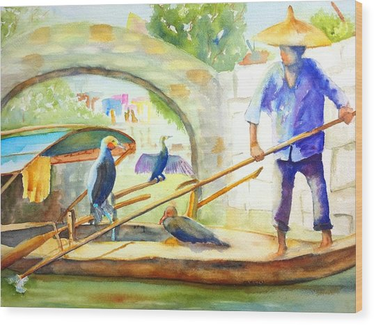 Cormorant Fishing - China Wood Print