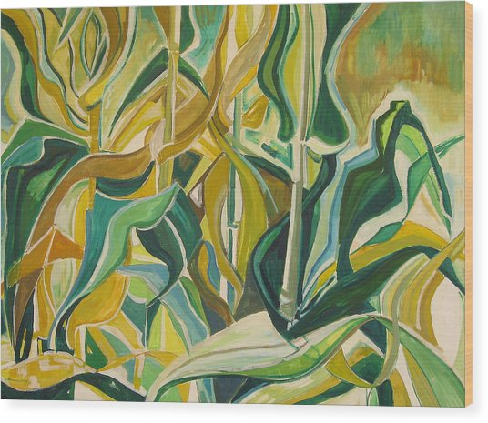 Corn Curves Wood Print by Catherine Jones Davies