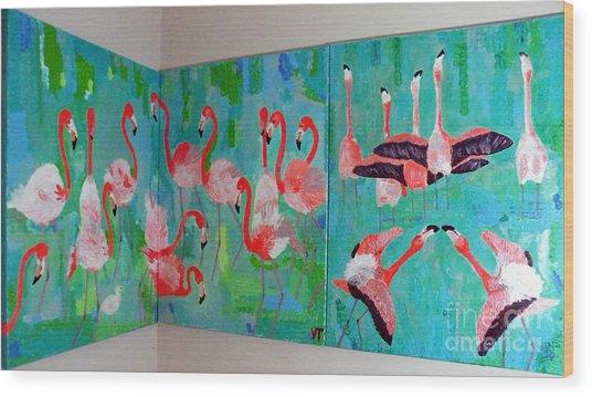 Corner Flamingos Wood Print