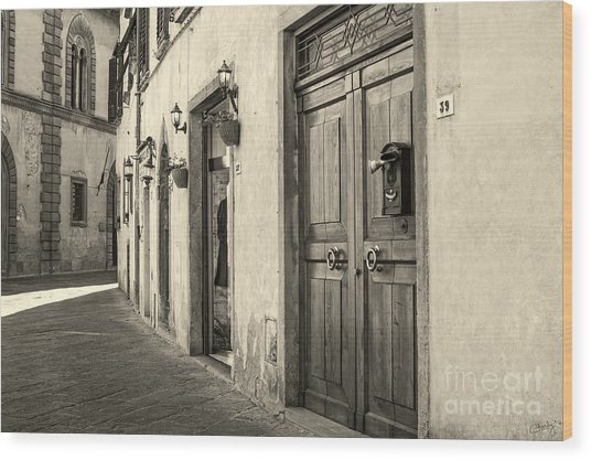Corner Of Volterra Wood Print