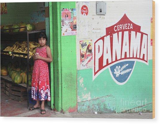 Corner Shop Panama Wood Print
